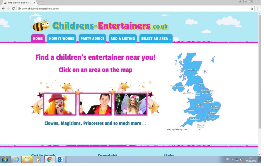Childrens Entertainers UK wide directory